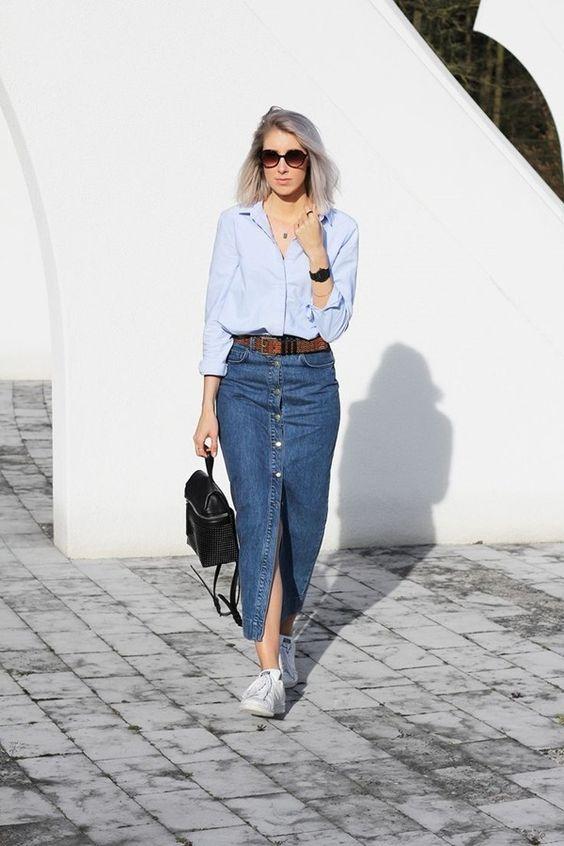 saia jeans longa