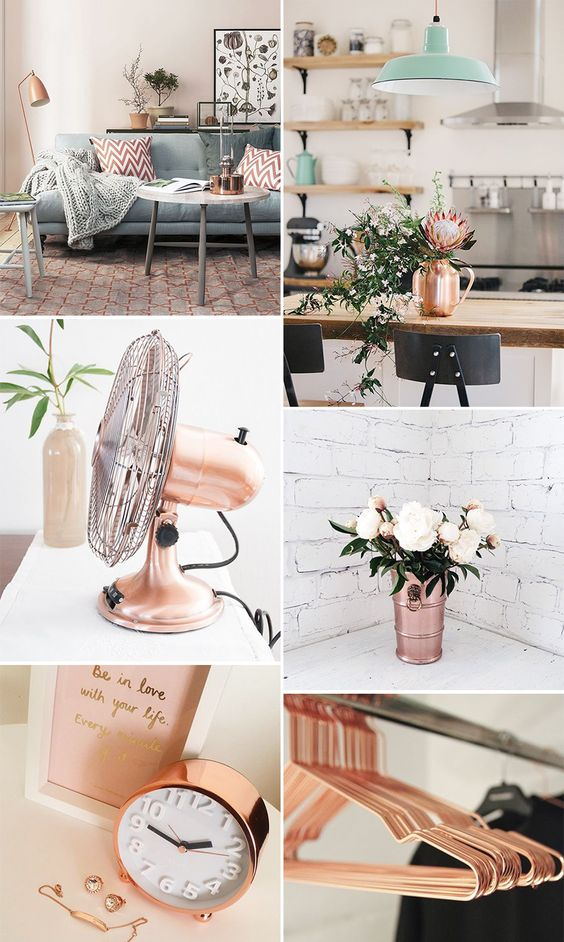como usar rose gold na decoração da sua casa