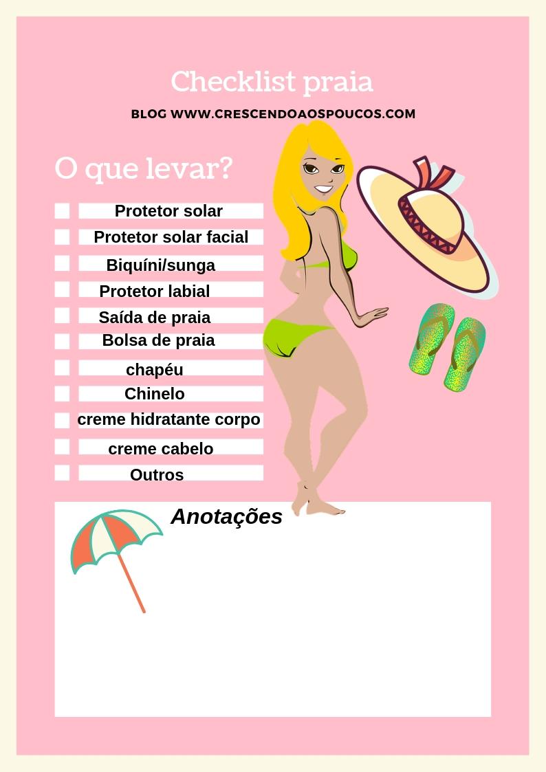 checklist praia - o que levar para praia