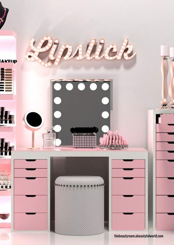 penteadeira rosa moderna com camarim #decoração