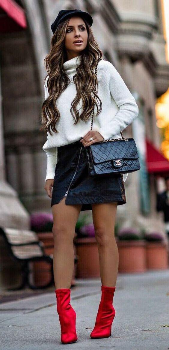 look com saia de couro para o inverno