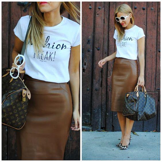 look com saia de couro marrom