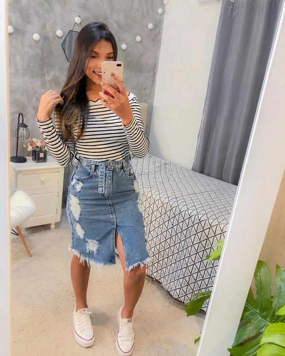 saia jeans com abertura na frente