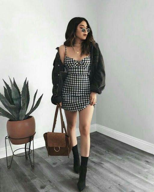 look-vestido xadrez